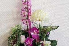 Composition florale rose et blanc