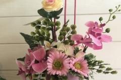 Coupe de fleurs roses