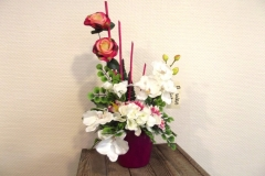 Coupe fleurs blanches et roses