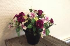 Coupe fleurs violettes et blanches