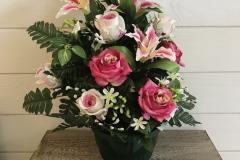 Compositions en pot fleurs roses