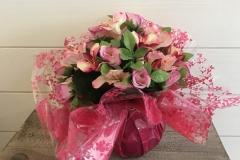 Bouquet fleurs artificielles roses