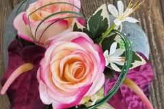 Cœur de fleurs artificielles roses