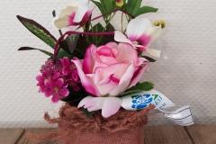 Potée de fleurs roses