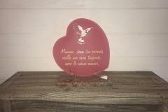Plaque altu coeur rose avec découpe oiseau