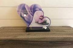 """Grande plaque altu coeur violette avec texte """" on oublie jamais ceux qu'on aime. """""""