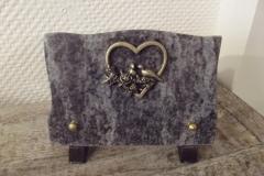 Petite plaque granit. Bronze cœur