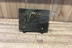 Petite plaque granit, bronze tournesol, épis de blé