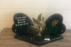 Plaque cœurs paillettes vertes