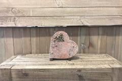 Plaque cœur granit,bronze rose